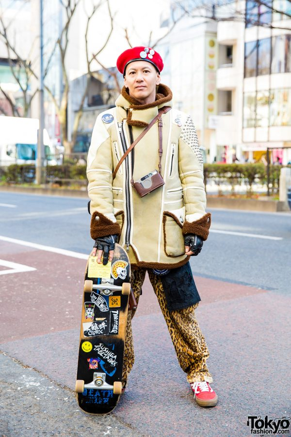 Japanese Skater in Color-Coordinated Menswear Street Style