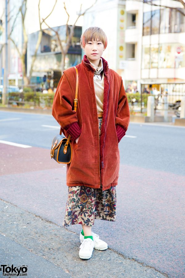 Japanese Casual Winter Style w/ Orange Coat, Bayson Floral Print Pants & Dooney&Bourke Leather Sling Bag