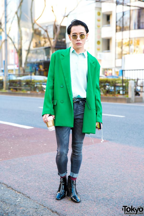 Symbolic Tokyo Fashion Designer in Casual Street Style w/ TST, Yves Saint Laurent, Zara & Chrome Hearts