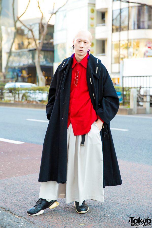 Japanese Model and Musician in Designer Menswear Street Style w/ Yohji Yamamoto Y's, Rick Owens & Balenciaga