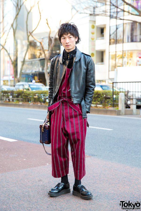 Striped Vivienne Westwood Jumpsuit, Leather Jacket & George Cox Creepers in Harajuku