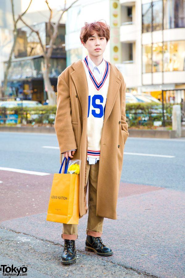 Tan Coat & V-Neck Sweater Japanese Street Style + Flowers