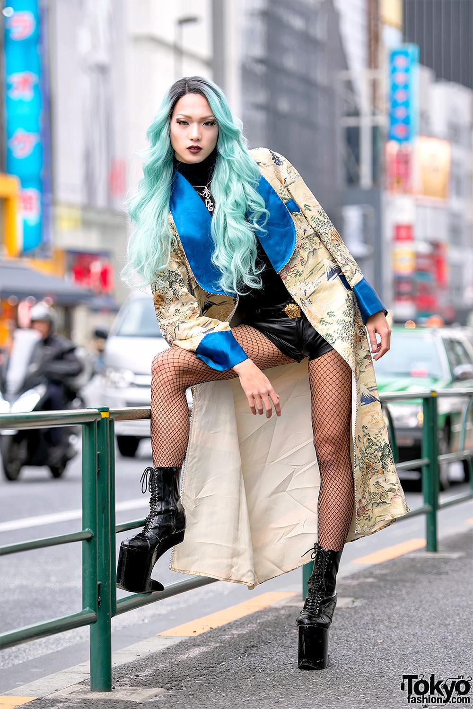 Aqua Haired Harajuku Student In Vintage Japanese Coat