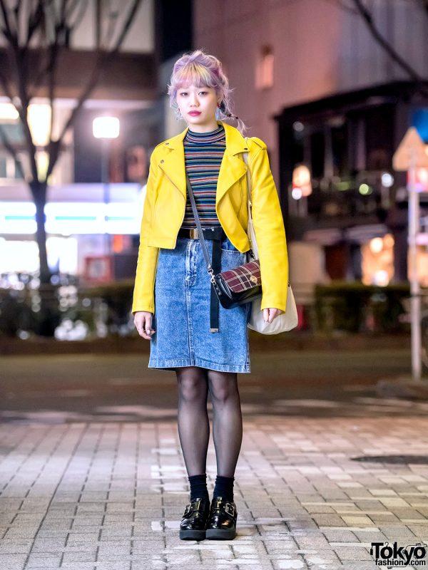 Harajuku Girl w/ Pastel Rainbow Braids Hair, Yellow Leather Jacket, Denim Skirt & Buckle Shoes