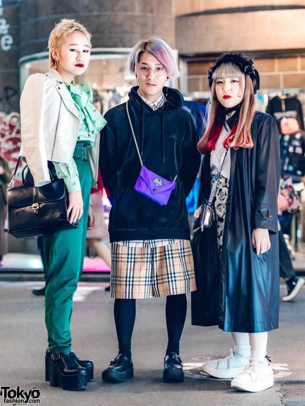 Harajuku Trio in Sleek Streetwear Fashion Styles
