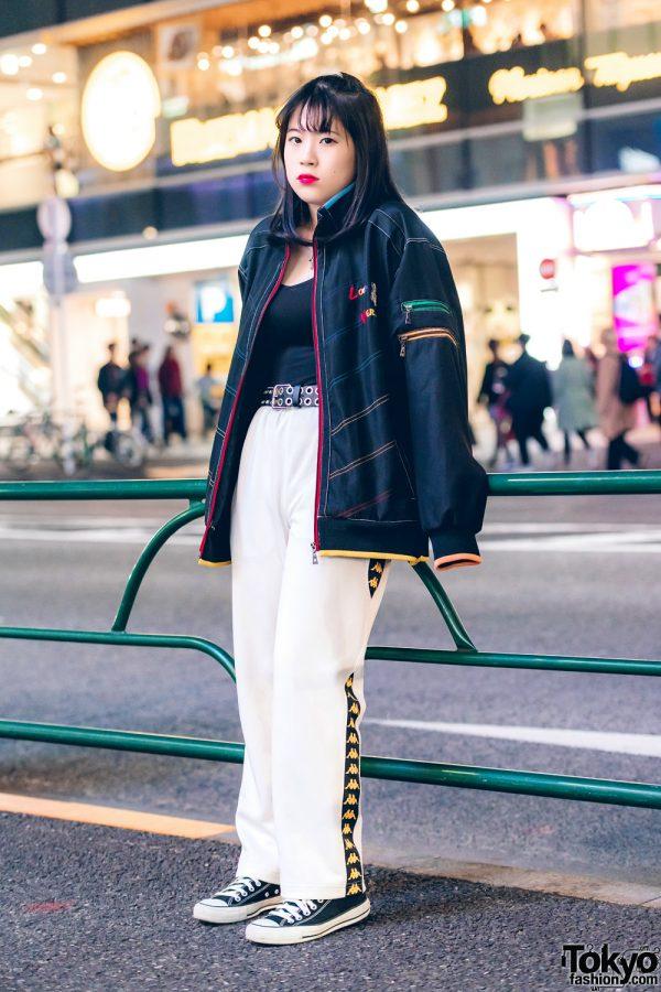 Harajuku Girl in Casual Sporty Style w/ Converse, Bubbles & Kappa
