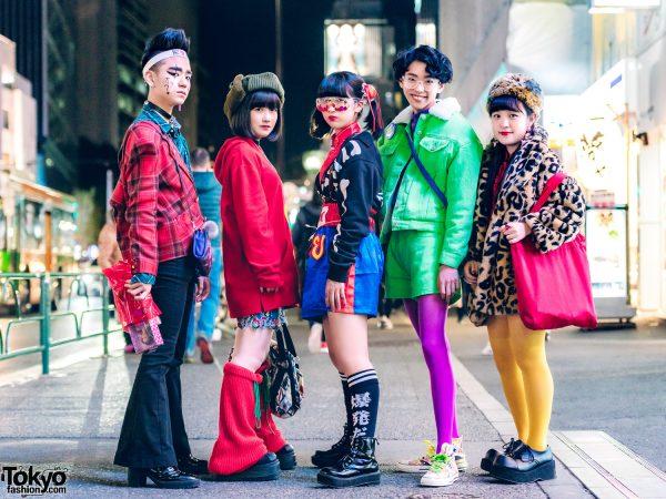 Japanese Teen Squad in Bold Harajuku Streetwear Styles