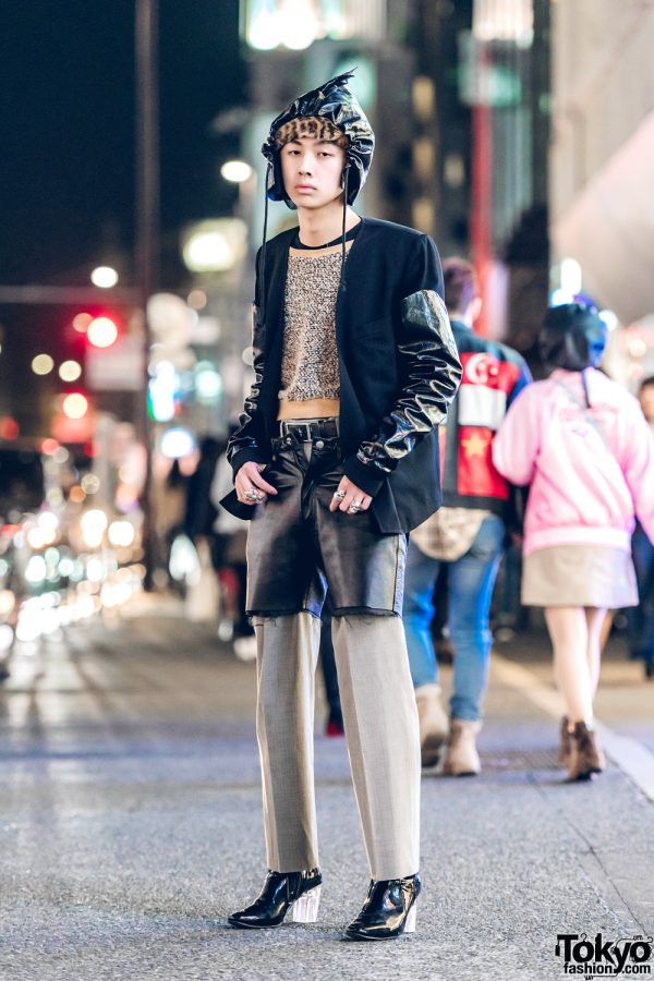 Harajuku Guy in Two-Tone Avant-Garde Street Style w/ Comme des Garcons Jacket & Tokyo Human Experiments Knuckle Rings
