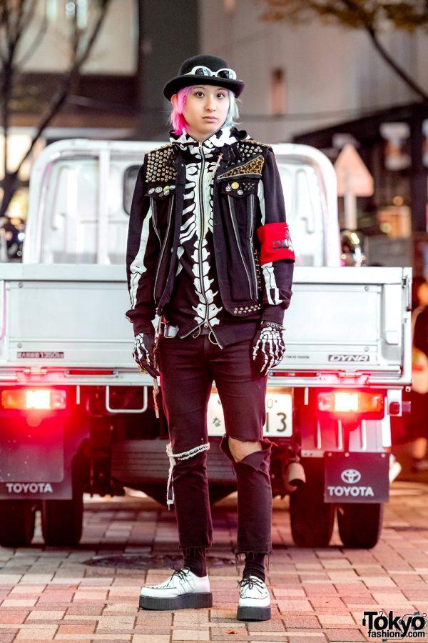 Punk Harajuku Street Style w/ Studded Vest, Skeleton Hoodie & T.U.K. Shoes