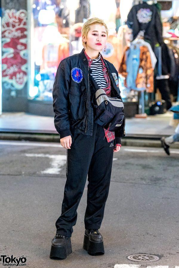 Harajuku Girl w/ Blonde Pixie Cut, RNA Bomber Jacket, Kappa Pants, & Buffalo Tall Platform Shoes