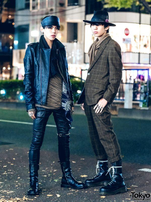 Black Leather & Plaid Suit Japanese Street Styles w/ Rick Owens, Paul Smith, Alexander McQueen & Nick Fouquet