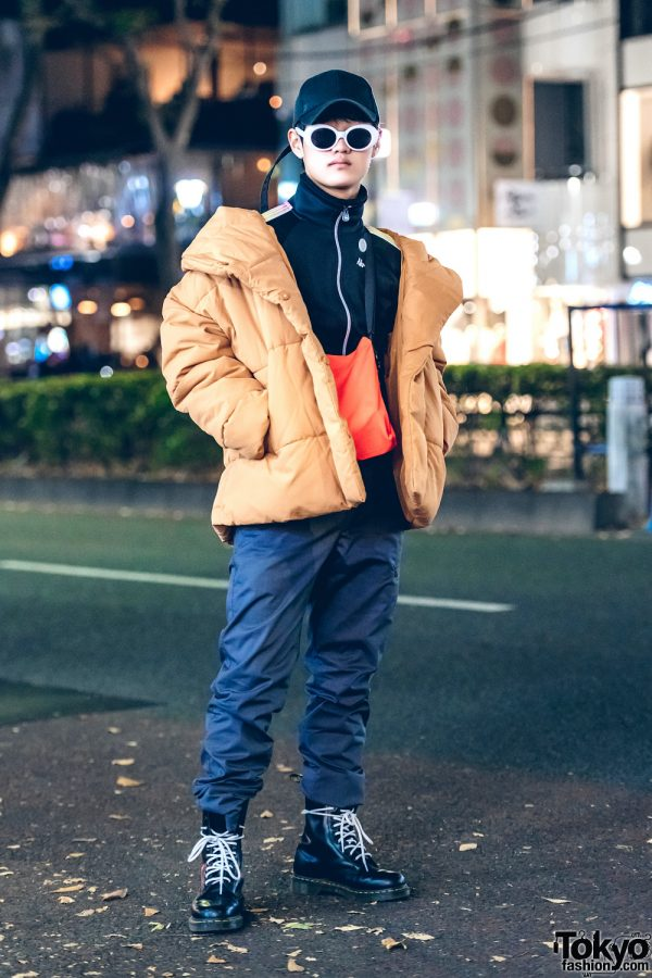 Cold-Weather Harajuku Street Style w/ Yellow Puffy Jacket, Black Zip-Up Top & Black Leather Combat Boots