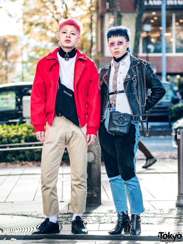 Harajuku Duo in Color-Coordinated Japanese Streetwear & Edgy Hair Styles