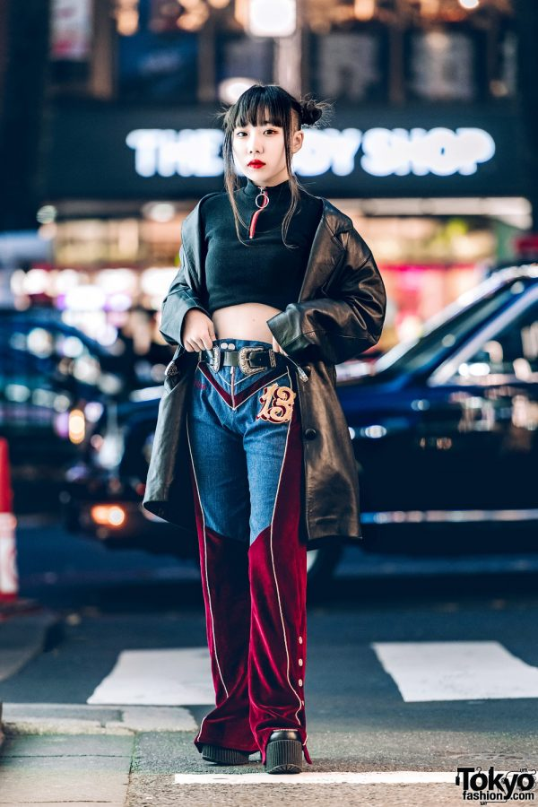 Harajuku Girls Streetwear w/ Black Leather Coat, XU Crop Top, Velvet Pants & Platforms