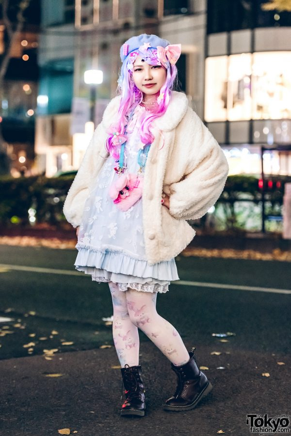 Harajuku Girl in Fairy Kei Fashion Style w/ Liz Lisa Shearling Coat & Nile Perch Ruffle Dress