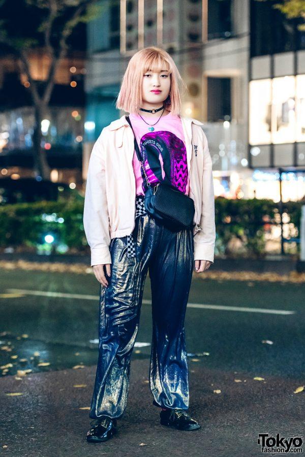 Harajuku Girl in Casual Japanese Street Style w/ Zara, Body Glove & Wire