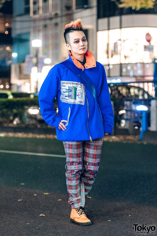 Japanese DJ Ohshi Uemoto in Casual Harajuku Plaid Style w/ MilkBoy, Vivienne Westwood & Dr. Martens