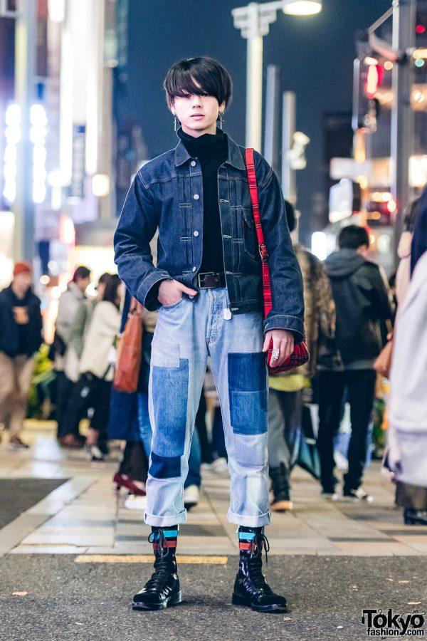 Harajuku Model in Denim on Denim Style Trend w/ Levi's, Raf Simons, Comme des Garcons & Vivienne Westwood