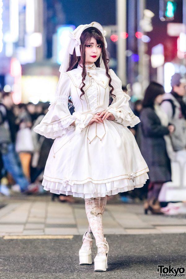 All White Japanese Lolita Fashion w/ Metamorphose Temps De Fille, Triple Fortune & Mary West