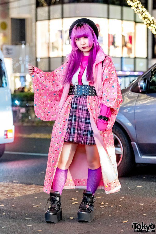 Super Pink Street Style w/ Bunny Print Kimono Coat from Kinji Harajuku, WEGO & Yosuke