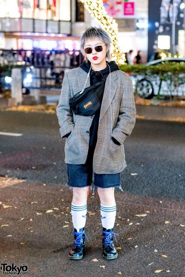 Harajuku Girl in Casual Street Style w/ Adidas, GU, Emoda, Thrasher & Dr. Martens