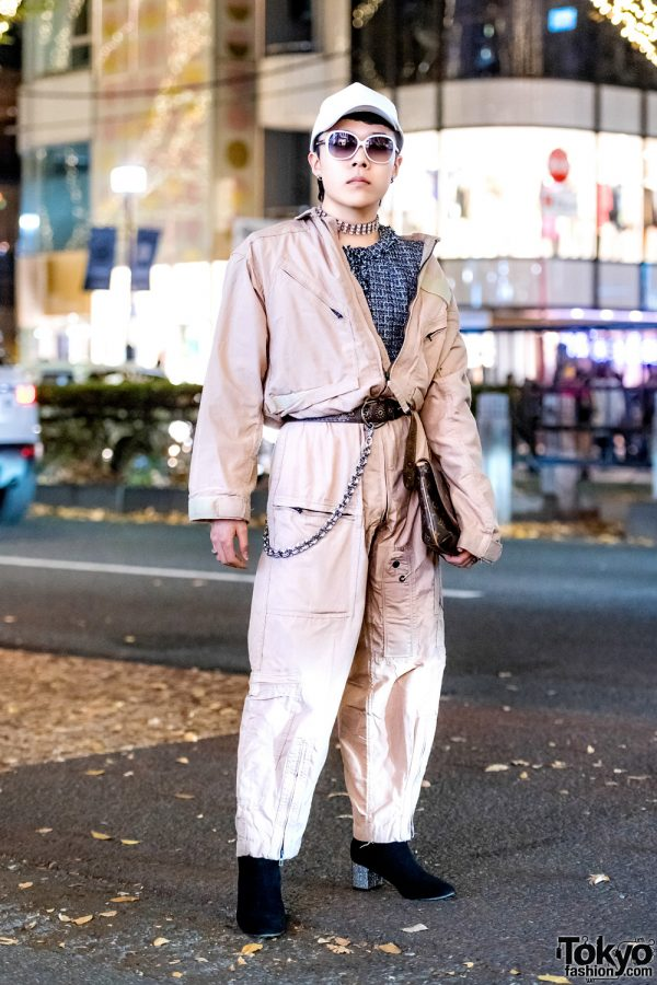 Harajuku Jumpsuit Street Style w/ Sullen Tokyo, Louis Vuitton, Chanel, H&M, Gucci & The Four-Eyed