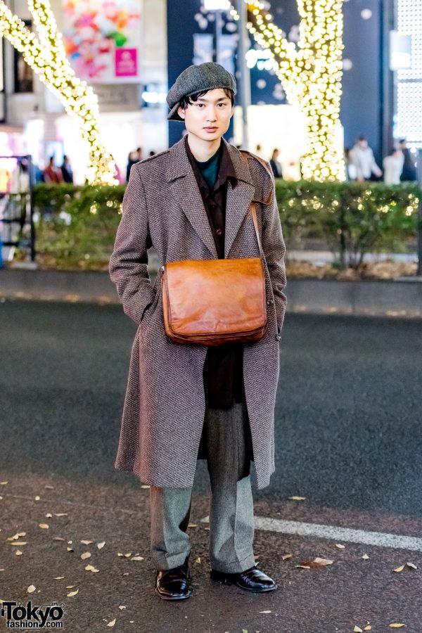 Dapper Vintage Menswear Street Fashion w/ Newsboy Cap, Tweed Coat, Ralph Lauren Tweed Pants & Black Leather Shoes
