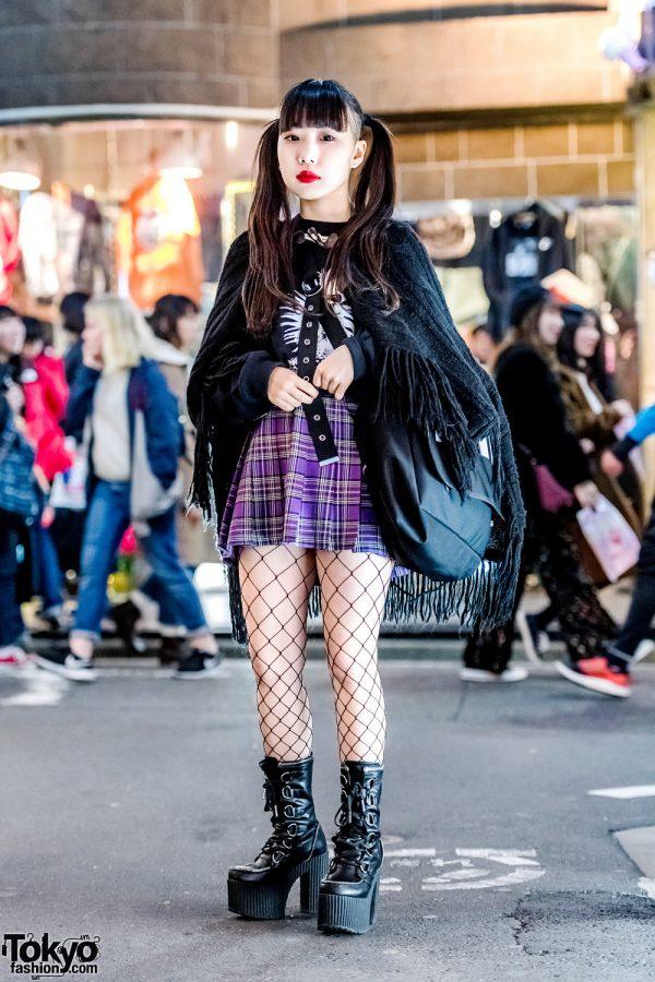 Harajuku Girl in Vintage Fringe Shawl, Plaid Skirt, Fishnet Stockings & Dolls Kill Platform Boots