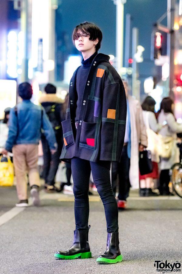 Japanese Model in All-Black Vintage Street Style w/ Diesel, H&M x Kenzo & Vivienne Westwood