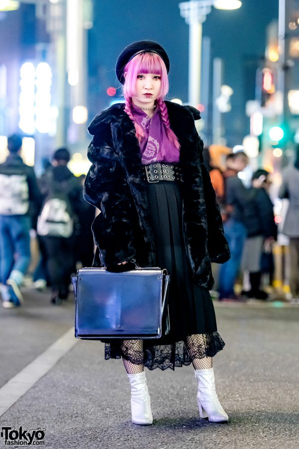 Pink-Haired Harajuku Girl in Vintage Street Style w/ Twin Braids, Black Velvet Coat, Purple Kimono Top, Black Pleated Skirt & Silver Boots