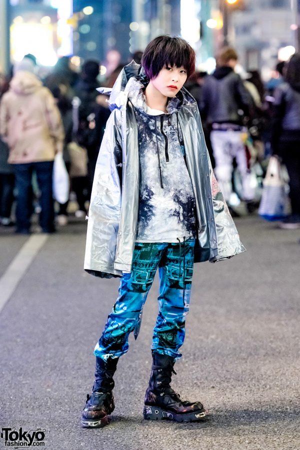 Harajuku Guy in Futuristic Streetwear Style w/ Michiko London, Kinji, Moschino & New Rock