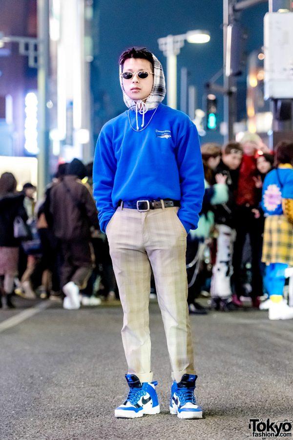 Harajuku Guy in Vintage National Geographic Sweater, Plaid Hoodie, Nike Plaid Pants & Undercover Sneakers