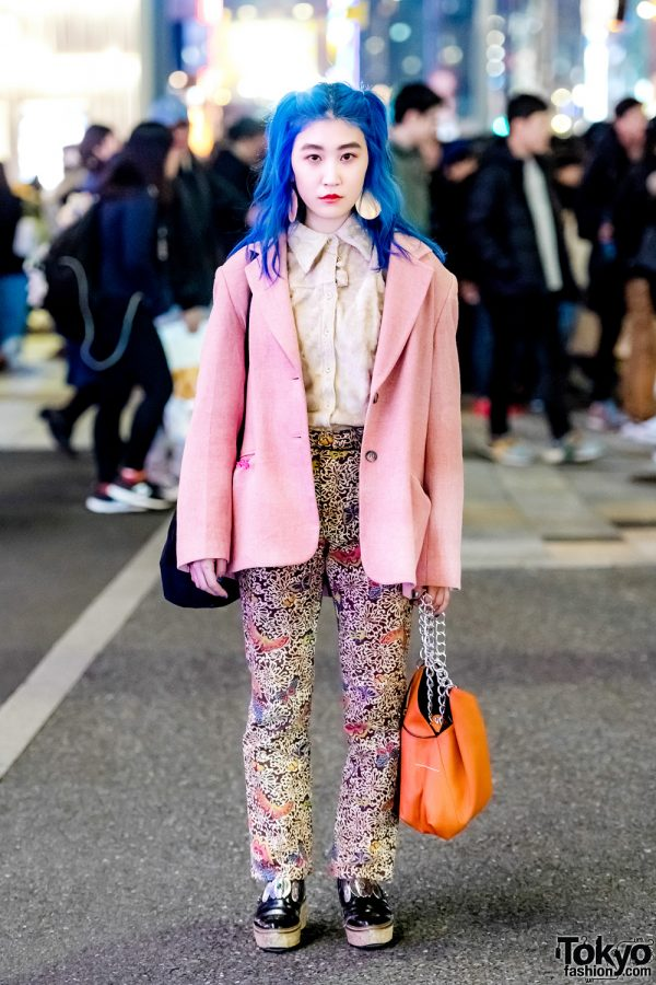 Blue-Haired Harajuku Girl in Pink Blazer, Embroidered Pants, Maison Margiela Bag & Toga Shoes