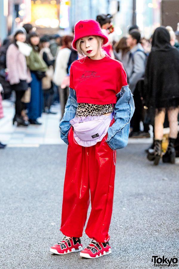 Japanese Streetwear Style w/ Remake Nike Cropped Sweater, Vinyl Pants, Nike Air Sneakers & Porter Belt Bag