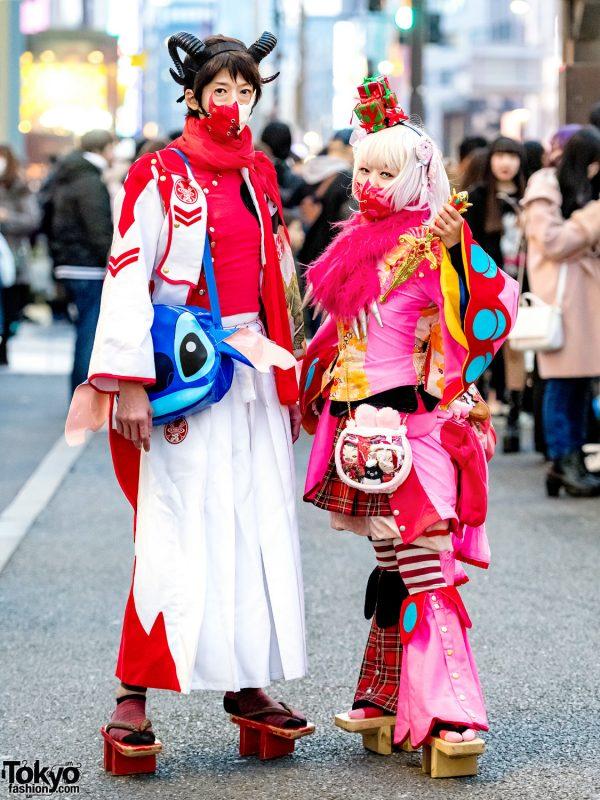 Harajuku Duo in Japanese Kimono-Fusion Avant-Garde Street Styles w/ Takuya Angel