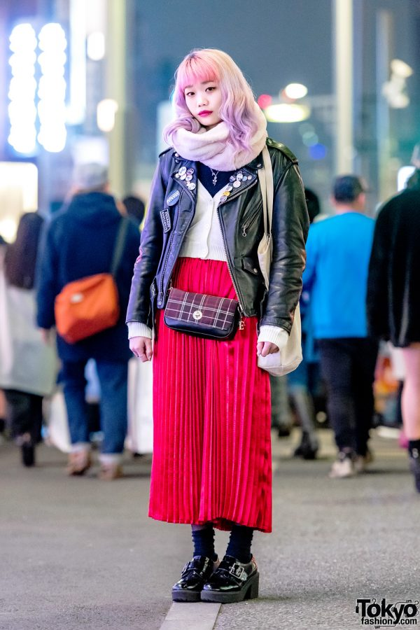 Elleanor in Harajuku w/ Schott Leather Jacket, WC Pleated Maxi Skirt & Fred Perry Bag