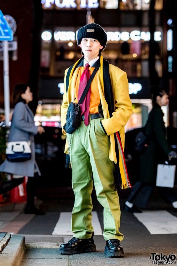 Yellow Velour Blazer & Green Slacks Harajuku Vintage Streetwear Style