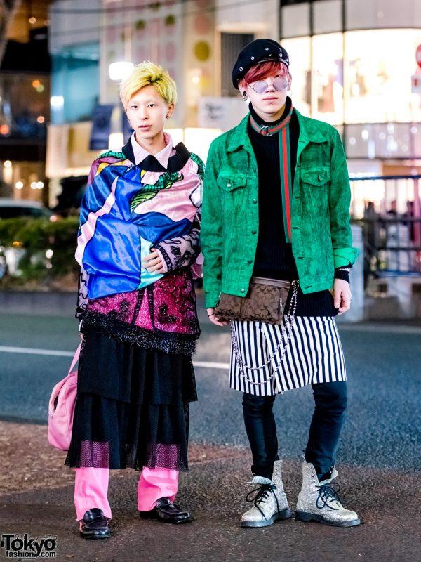 Harajuku Guys in Colorful Layered Vintage Streetwear Styles