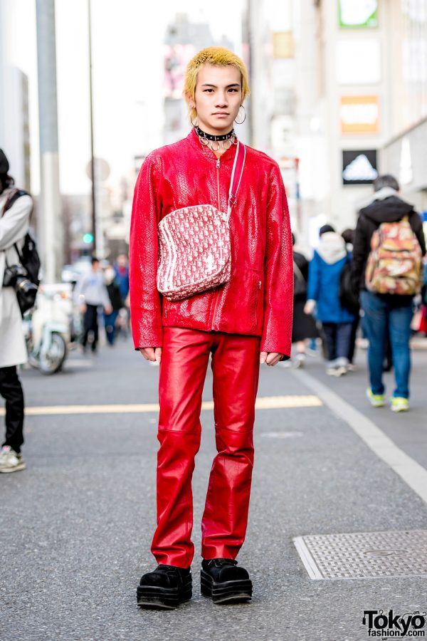 All Red Streetwear Style w/ Pinnap Snakeskin Jacket, Christian Dior Crossbody Bag & Never Mind the XU Platform Suede Shoes
