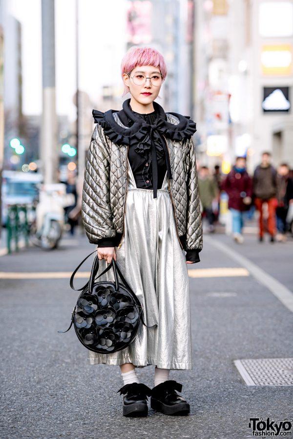 Pink-Haired Japanese Artist in Metallic Streetwear w/ Comme des Garcons, Otoe & Tokyo Bopper