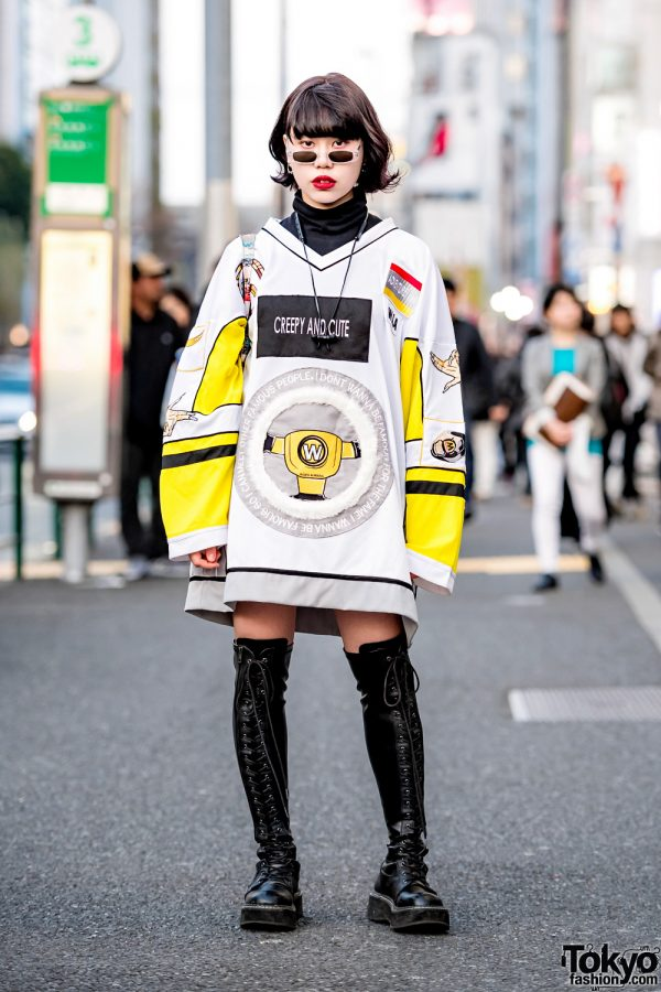 Harajuku Girl Street Style w/ W.I.A Creepy & Cute Shirt, Demonia Knee-High Boots, Opening Ceremony Tote & Dog Harajuku Sunglasses