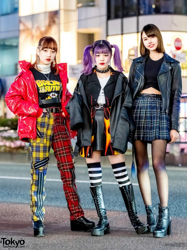 Harajuku Girl Trio in Streetwear Styles w/ Plaid Punk Pants, Flame Print Shirt & Plaid Skirt