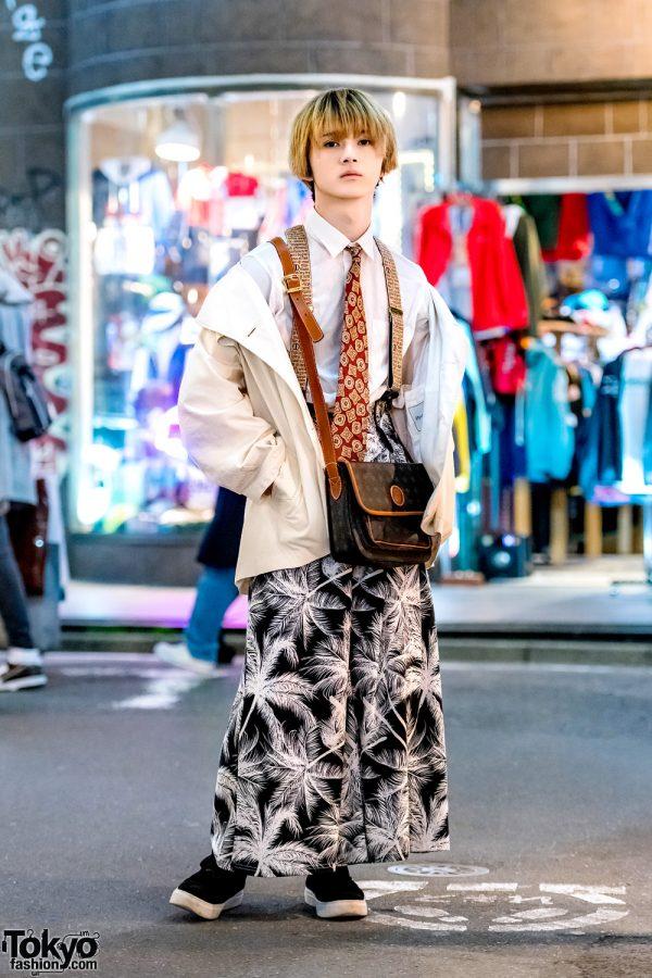 Blonde Harajuku Guy in Vintage Street Style w/ Neck Tie, Kenzia Crossbody Bag & Palm Tree Print Pants