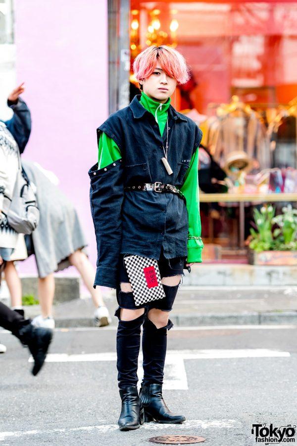 Pink-Haired Harajuku Guy in Distressed Streetwear Style w/ Ikumi, Fred Perry, ESC Studio & Ambush