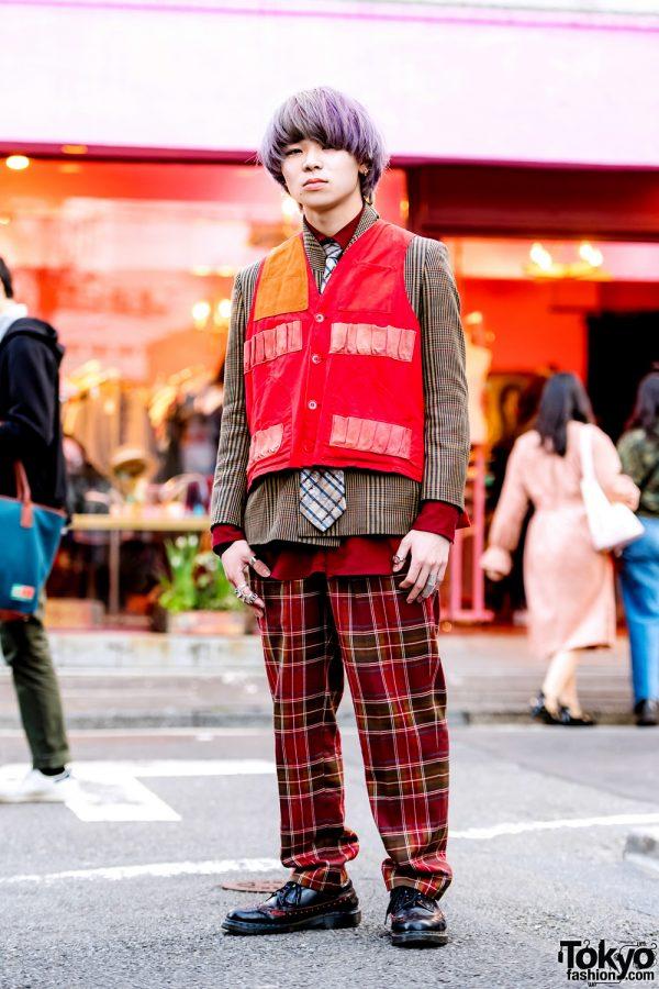 Purple-Haired Harajuku Guy in Vintage Streetwear, Hunting Vest, Vivienne Westwood & Maison Margiela