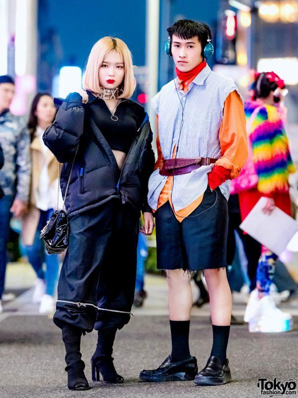 Harajuku Vintage Street Styles w/ All-Black Outfit, Orange Turtleneck, Black Shorts, Peep-Toe Boots, & Black Leather Shoes