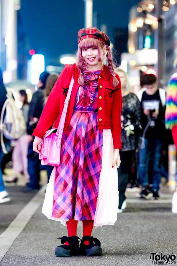 Kawaii Red & Pink Japanese Street Style w/ Punk Cake, Kinji, Tokyo Bopper & Cambridge Satchel