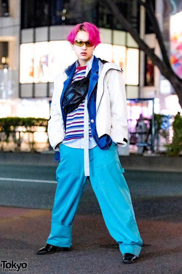 Pink-Haired Harajuku Guy in Vintage Streetwear Style w/ Facetasm, Slow Acid, Neon Sign x O Daikanyama & Funktique Tokyo