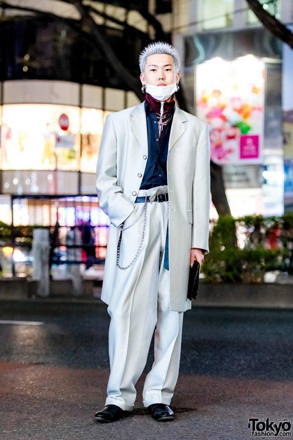 Silver Suit Harajuku Street Style w/ Dog Harajuku, Gen Izawa, John Lawrence Sullivan & Handsman
