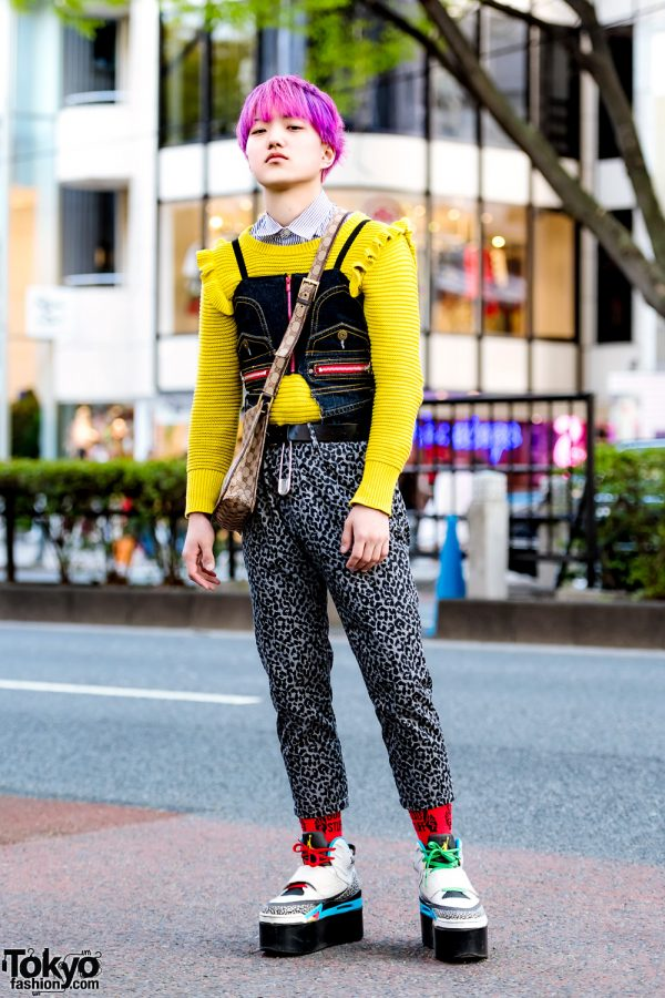 Pink-Haired Harajuku Guy in Eclectic Layered Street Style w/ Dog Harajuku & Gucci